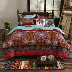 Stylish Ethnic Reactive Print 4PCS Duvet Cover Bedding Set