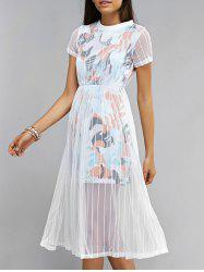 Voile Splicing Short Sleeve Printed Dress -