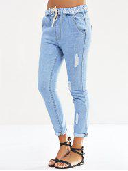 Elastic Waist Letter Print Ripped Jeans -