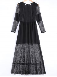Lace Panel Cut Out Sheer Maxi Prom Dress -