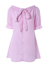 Off Shoulder Bowknot Striped Tunic Dress - PINK L