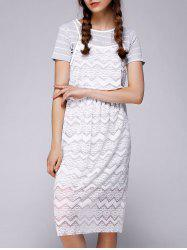 Brief Women's Striped Faux Twinset Lace Dress -
