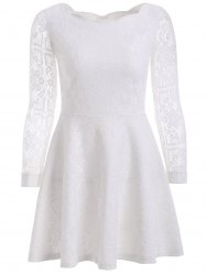 Floral Embroidered Lace Casual Wedding Dress - WHITE
