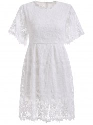 Elegant Women's Crochet-Trim Lace A-Line Dress -