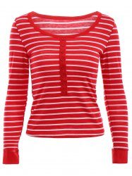 Stylish Scoop Neck Long Sleeves Striped Slimming Women's T-Shirt