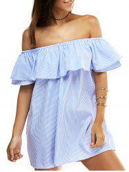 Overlay Striped Flouncing Backless Dress - BLUE