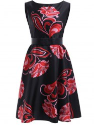 Sweet Women's Floral Print Sleeveless Flare Dress -