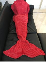 Comfortable Solid Color Warmth Wool Knitted Mermaid Tail Design Blanket