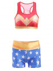Stylish U Neck Star Printed Tank Top and Shorts Suit For Women