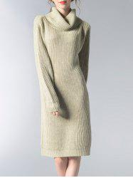 Turtle Neck Solid Color Women's Long Sweater -