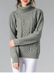 Long Sleeve Turtle Neck Solid Color Sweater - GRAY