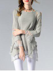 Scoop Neck Hollow Out Spliced Women's Sweater