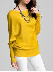 Round Neck Bat Sleeve Solid Color Sweater - YELLOW