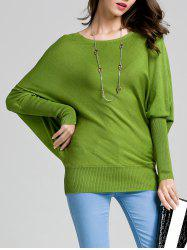 Round Neck Bat Sleeve Solid Color Sweater -