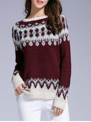 Long Sleeve Round Neck Patterned Sweater -