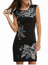 Jewel Neck Bodycon Floral Embroidered Dress
