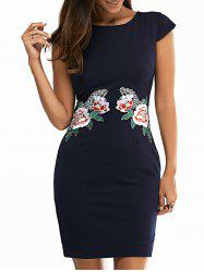 Jewel Neck Floral Embroidered Bodycon Dress - PURPLISH BLUE