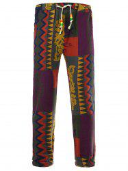 Drawstring Color Block Spliced Totem Print Cotton Linen Pants - COLORMIX