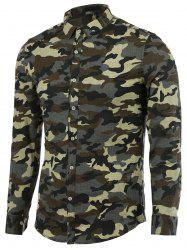 Turn-Down Collar Camouflage Long Sleeve Shirt For Men - ARMY GREEN 2XL