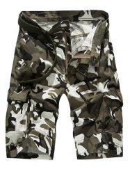 Fashion Loose-Fitting Camo Bomber Shorts For Men