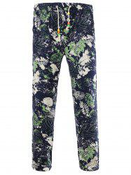 Drawstring Leaves Print Cotton and Linen Pants