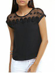Sweet Floral See-Through Chiffon T-Shirt For Women -