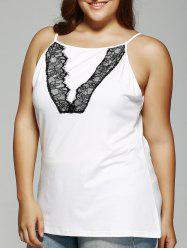 Plus Size Lace Cami Top - WHITE 5XL