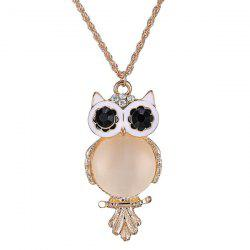 Graceful Faux Opal Owl Sweater Chain For Women