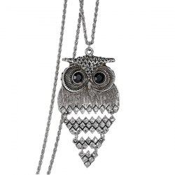 Vintage Alloy Owl Sweater Chain For Women -