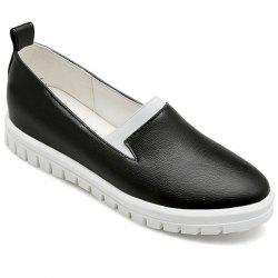 Concise Faux Leather Slip On Sneakers - BLACK
