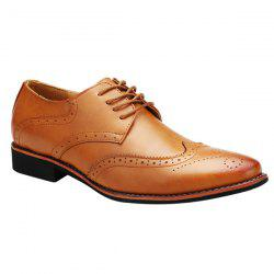 Stylish Tie Up and Wingtip Design Formal Shoes For Men - BROWN