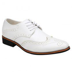 Stylish Tie Up and Wingtip Design Formal Shoes For Men - WHITE