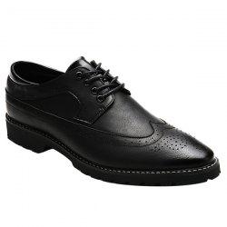 Stylish PU Leather and Tie Up Design Formal Shoes For Men - BLACK