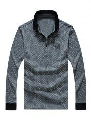 Polo Collar Letter Print Long Sleeve Polka Dot T-Shirt For Men