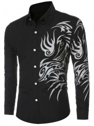 Tatoo Floral Printed Long Sleeve Shirt - BLACK