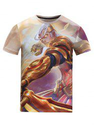 3D Male General Cartoon Figure Pattern Round Neck Short Sleeve T-Shirt For Men -