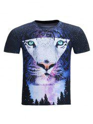 3D Starry Sky Geometric Tiger Print Round Neck Short Sleeve T-Shirt For Men - COLORMIX 2XL