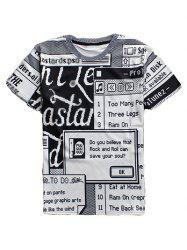 Full Letters Printing Round Neck Short Sleeves 3D T-Shirt For Men - WHITE AND BLACK 2XL