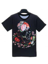 Floral Skull 3D Print Round Neck Short Sleeve T-Shirt For Men