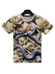Floral 3D Print Round Neck Short Sleeve T-Shirt For Men -