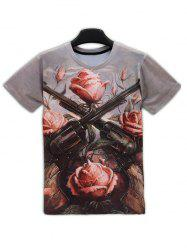 Guns Floral 3D Print Round Neck Short Sleeve T-Shirt For Men