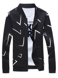 Rib Splicing Imprimer Zip Up Sweatshirt For Men - Noir 5XL