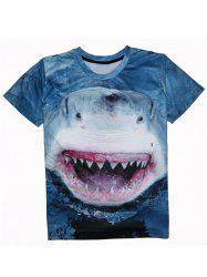 Shark 3D Print Round Neck Short Sleeve T-Shirt For Men - DEEP BLUE