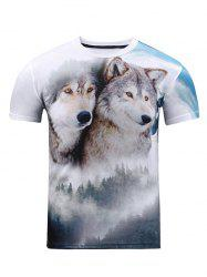 Wolf 3D Print Crew Neck T Shirt - WHITE 2XL