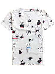 3D Cartoon Expression Round Neck Character T-Shirt - WHITE 2XL