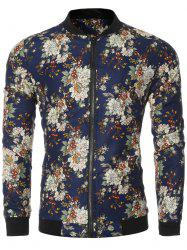 Vintage Flower Print Bomber Collar Long Sleeve Jacket - DEEP BLUE