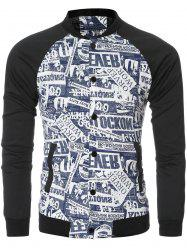 Letter Printed Bomber Collar Spliced Long Sleeve Jacket -