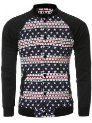 Stars and Stripe Printed Bomber Spliced Long Sleeve Jacket - COLORMIX XL