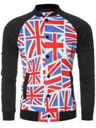 The Union Jack Printed Baseball Collar Spliced Long Sleeve Jacket For Men -