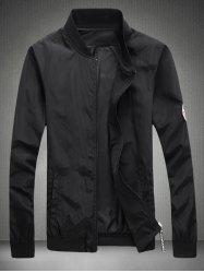 Patch Design Rib Splicing Zip Up Jacket For Men